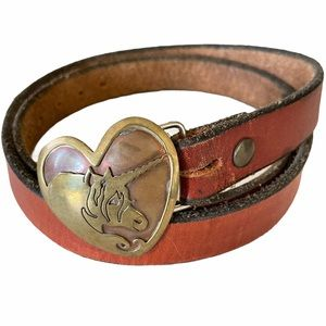 VTG Brown Leather Belt With Heart Unicorn Buckle
